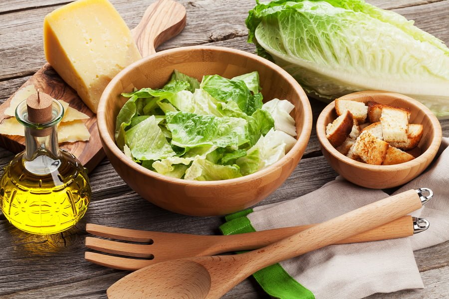 Homemade Caesar Salad Dressing with Croutons & Romaine