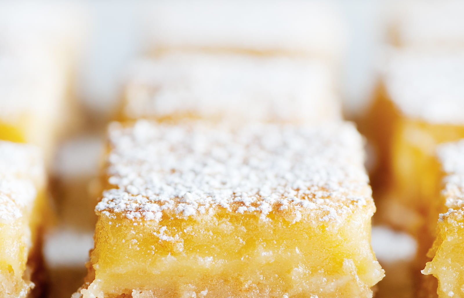 Fresh baked Meyer lemon bars with powdered sugar